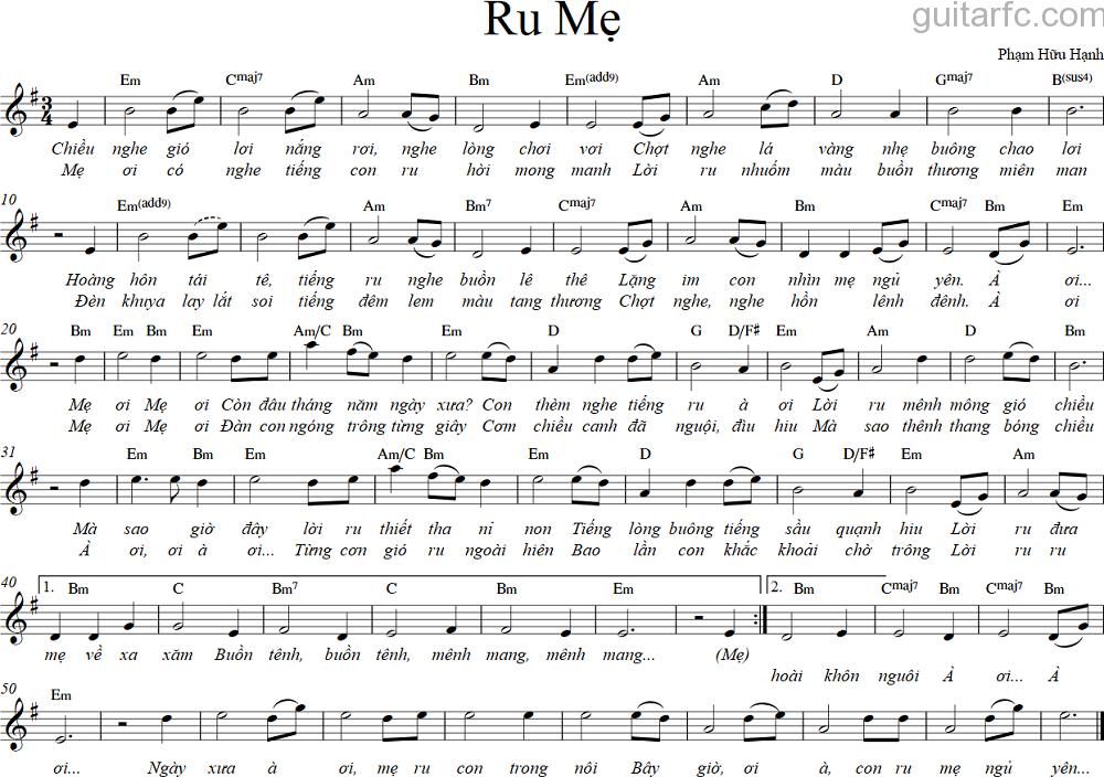 Sheet nhạc bài hát ru mẹ
