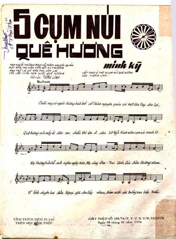 Sheet nhạc bài hát năm cụm núi quê hương 2