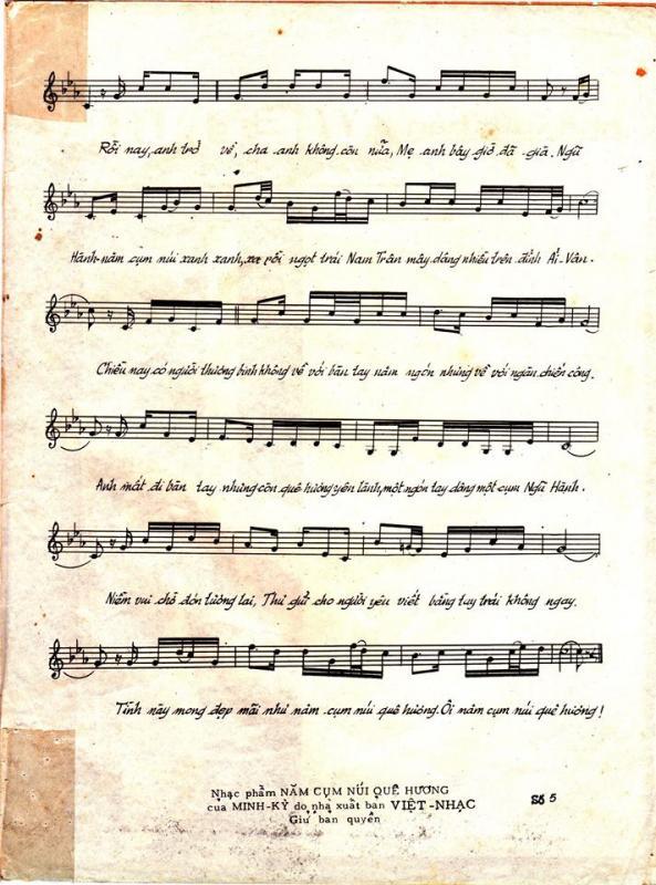 Sheet nhạc bài hát năm cụm núi quê hương 3