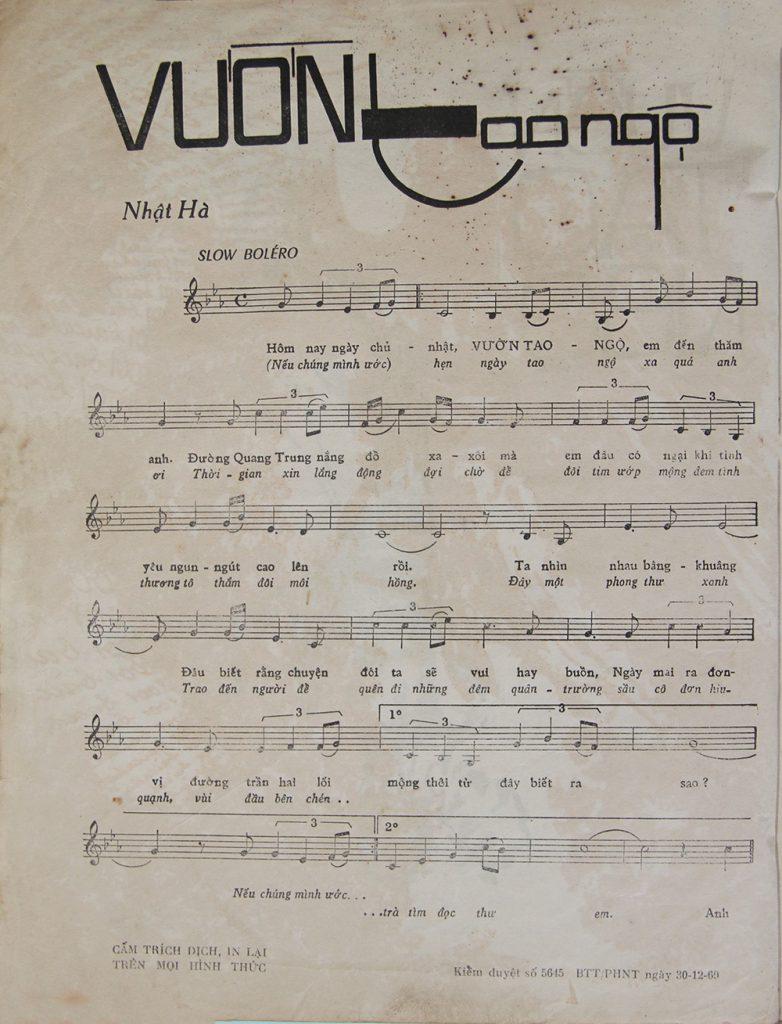 Sheet nhạc bài hát vườn tao ngộ