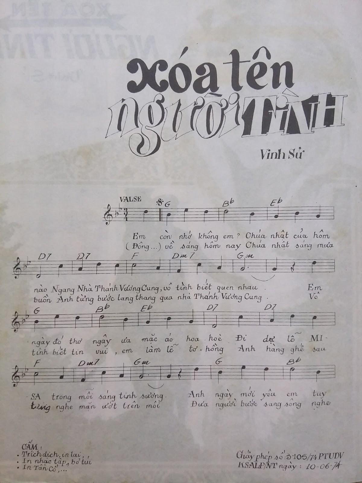 Sheet nhạc bài hát xóa tên người tình