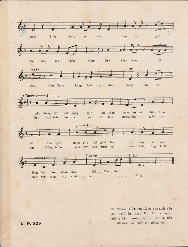 Sheet nhạc bài hát trăng về thôn dạ 2