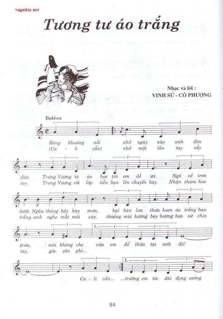Sheet nhạc bài hát tương tư áo trắng 1