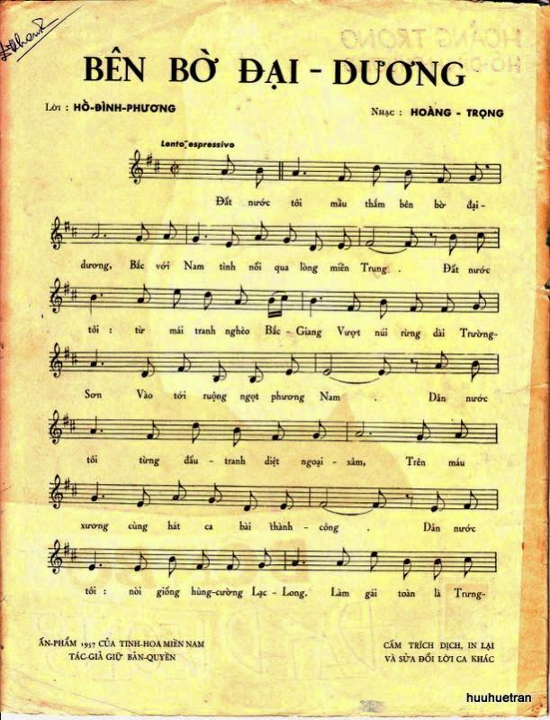 Sheet nhạc bài hát bên bờ đại dương 1