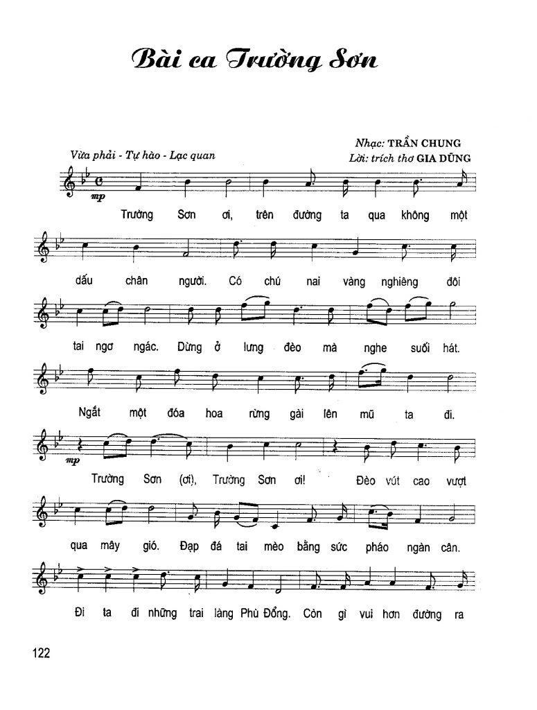 Sheet nhạc bài hát bài ca Trường Sơn