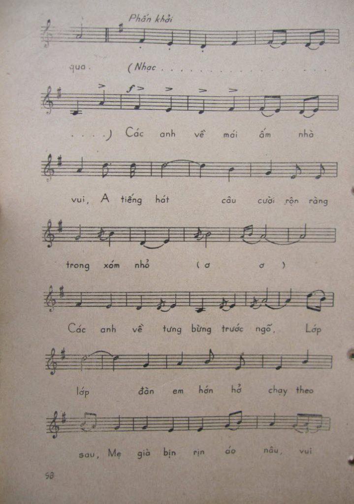 Sheet nhạc bài hát bộ đội về làng 2