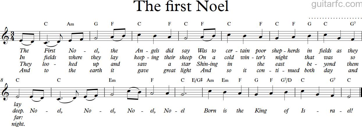 Sheet nhạc bài hát the first Noel