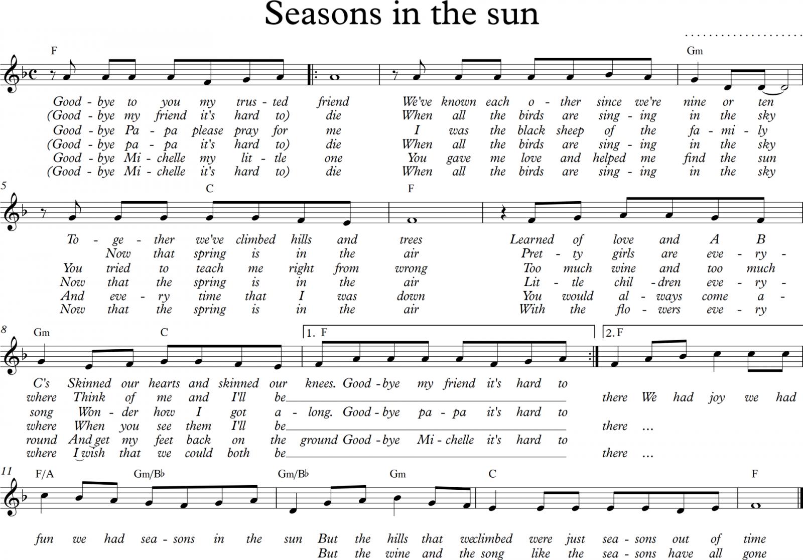 Sheet nhạc bài hát seasons in the sun