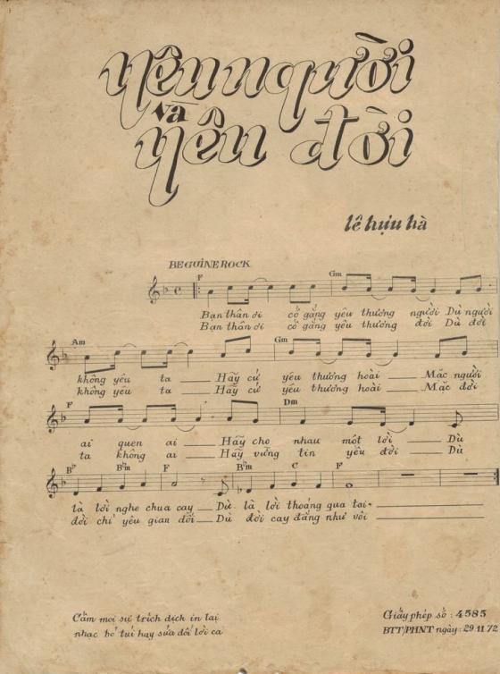 Sheet nhạc bài hát yêu người và yêu đời 1