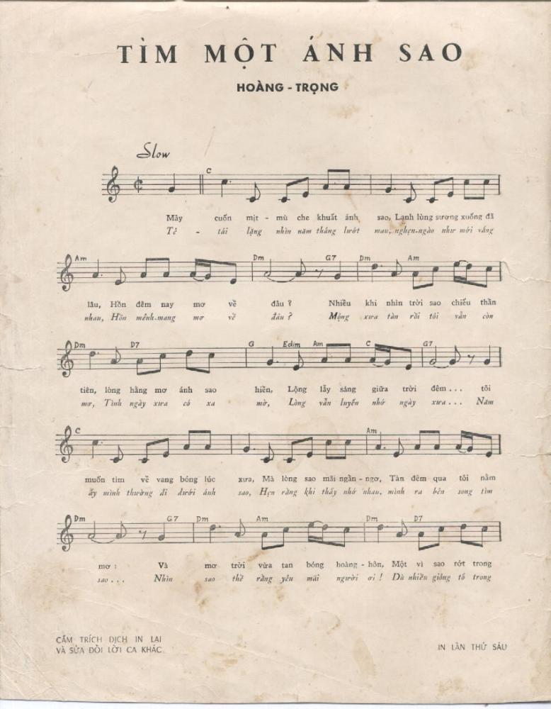 Sheet nhạc bài hát tìm một ánh sao 1