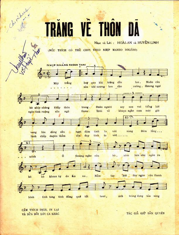 Sheet nhạc bài hát trăng về thôn dạ 1