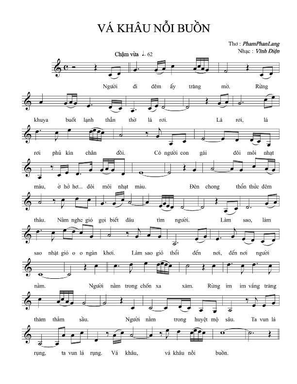 Sheet nhạc bài hát vá khâu nỗi buồn