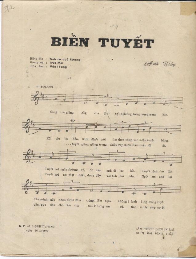 Sheet nhạc bài hát biển tuyết 1